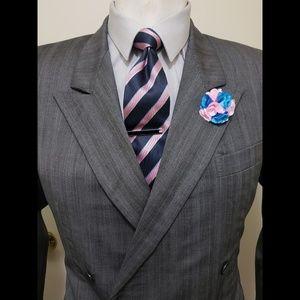 Pal Zileri Men's Double Breasted gray Suit Jacket